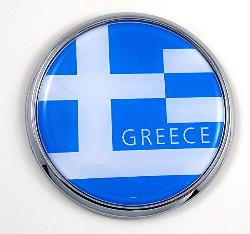 "Greece Greek Flag 2.75"" Car Chrome Round Emblem Decal 3D Badge"