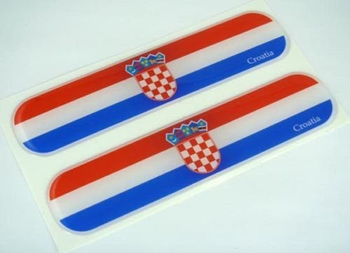 "Croatia Croatian Flag Domed Decal Emblem Car Flexible Sticker 5"" Set of 2"