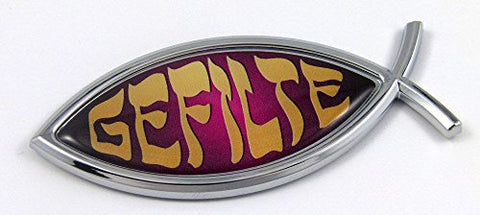 Gefilte Fish Jesus Fish Ichthus Pisces Car Chrome Emblem Decal 3D Sticker