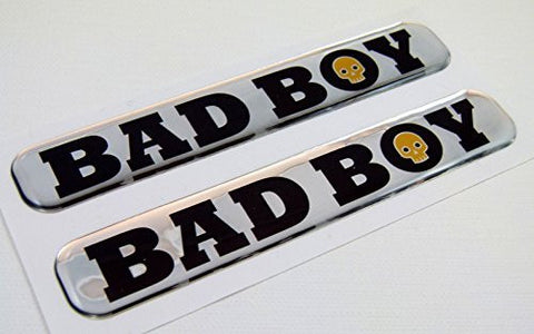 "Bad Boy Domed Decal Emblem Resin chrome car bike biker stickers 5""x 0.82"" 2pc."