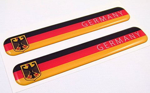"Germany German Flag Domed Decal Emblem Resin car stickers 5""x 0.82"" 2pc."