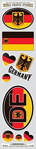 Car Chrome Decals STS-GERMAN Germany 9 stickers set German Deutschland flag decals bumper stiker car auto bike laptop