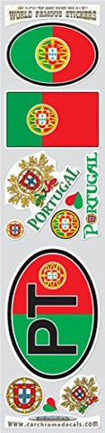 Car Chrome Decals STS-PT Portugal 9 stickers set Portugese flag decals bumper car auto bike laptop