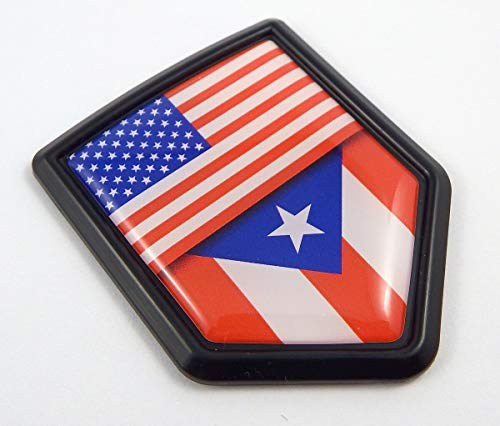USA Puerto Amarican Flag Black Shield Emblem Car Bike Decal Crest 3D Sticker