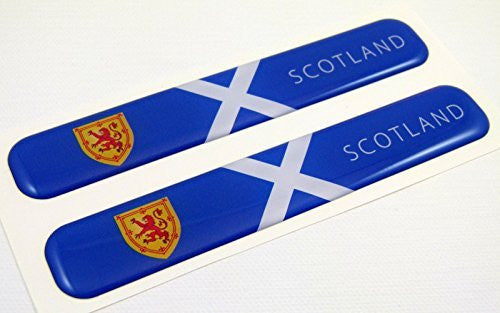 "Scotland Scotish Flag Domed Decal Emblem Resin car stickers 5""x 0.82"" 2pc."