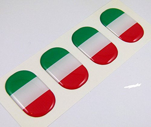 "Italy midi Italia domed decals flag 4 emblems 1.5"" Car bike laptop stickers"