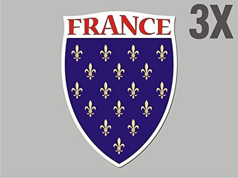 3 France shaped stickers flag crest decal bumper car bike emblem vinyl CN015