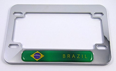Brazil flag Motorcycle Bike ABS Chrome Plated License Plate Frame brazilian