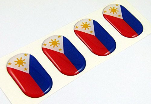"Philippine MIDI domed decals flag 4 emblems 1.5"" Car bike boat stickers"