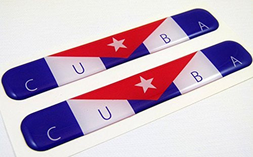 "Cuba Cuban Flag Domed Decal Emblem Resin car auto stickers 5""x 0.82"" 2pc."