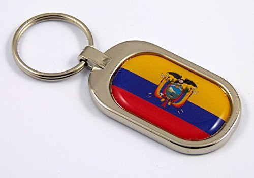 Ecuador Flag Key Chain metal chrome plated keychain key fob keyfob