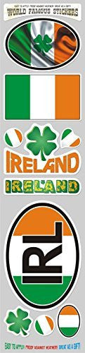 Car Chrome Decals STS-IRL Ireland Irish 10 stickers set flag decal bumper stiker car auto bike laptop
