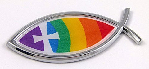 Car Chrome Decals CBFSH-CHRIST Christian Rainbow Jesus Fish cross Car bike Auto Chrome Emblem Decal Sticker