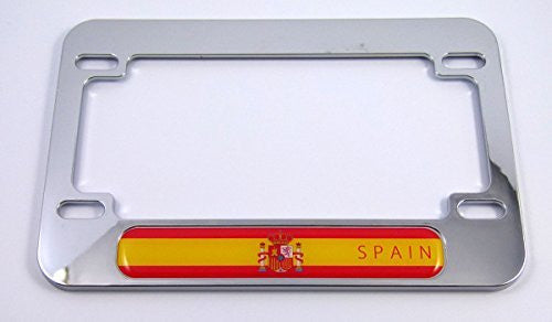 Spain Spanish flag Motorcycle Bike ABS Chrome Plated License Plate Frame