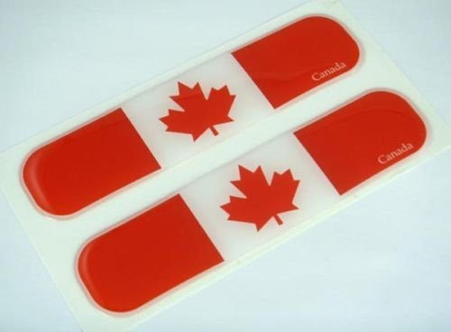 "Canada Canadian Flag Domed Decal Emblem Car Flexible Sticker 5"" Set of 2"