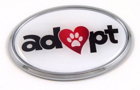 Adopt Pets Cats Dogs Chrome Emblem Adoption Decal Car Auto Bike Truck Sticker