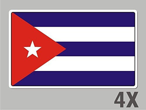 4 Cuba Cuban stickers flag decal bumper car bike emblem vinyl FL016