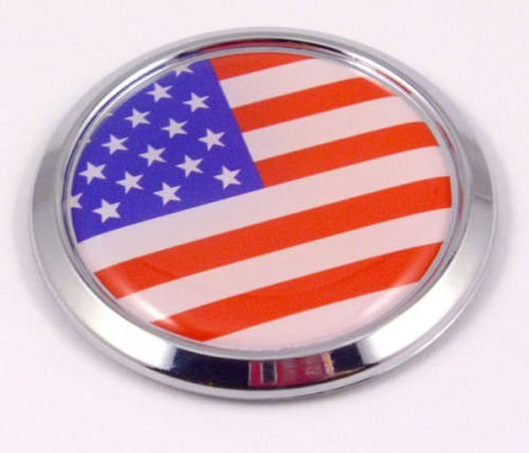 USA Decal American Flag Car Chrome Emblem Sticker Round Flag of United States