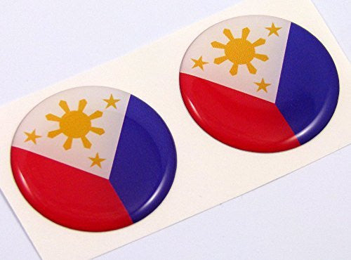 "Philippine flag Round domed decal 2 emblem Car bike stickers 1.45"" PAIR"