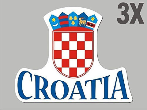 3 Croatia shapes stickers flag crest decal bumper car bike emblem vinyl CN007
