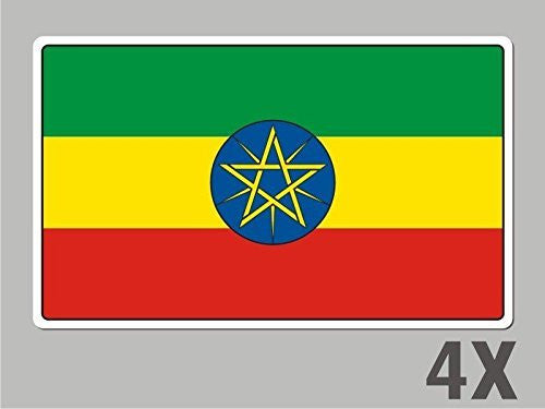 4 Ethiopia stickers flag decal bumper car bike laptop .. emblem vinyl FL030