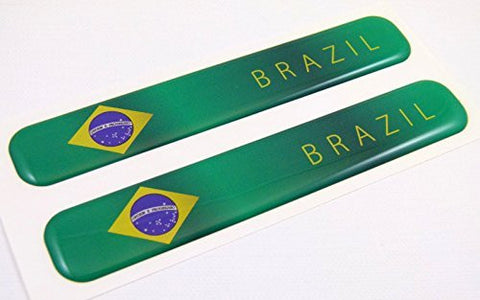 "Brazil Brazilian Flag Domed Decal Emblem Resin car auto stickers 5""x 0.82"" 2pc."