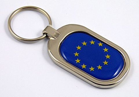 European Union Europe Flag Key Chain metal chrome plated keychain key fob keyfob