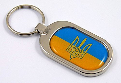 Ukraine Flag Key Chain metal chrome plated keychain key fob Ukrainian tryzub