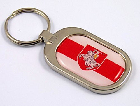 Belarus Flag Key Chain metal chrome plated keychain key fob keyfob Belorussia