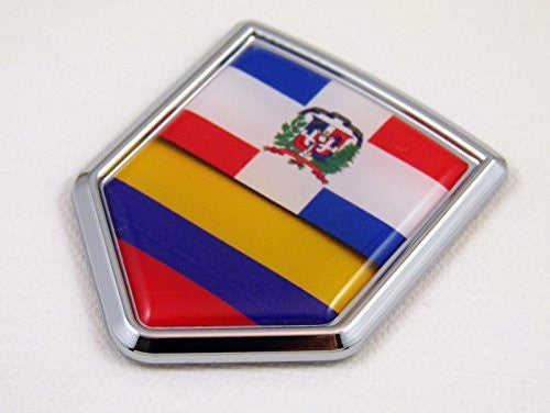 Dominican republic Colombia Flag Car Chrome Emblem Decal Sticker