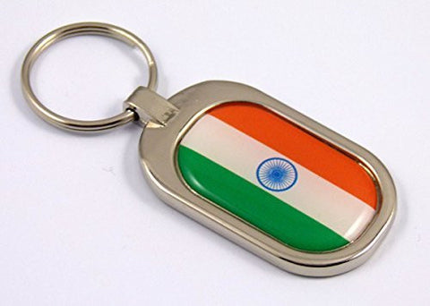 India Flag Key Chain metal chrome plated keychain key fob keyfob Indian