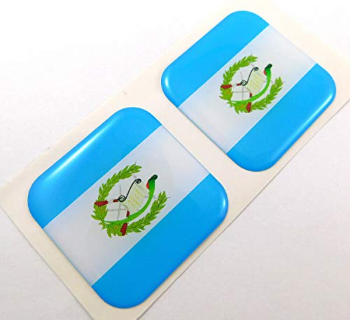 "Guatemala Flag Square Domed Decal car Bike Gel Stickers 1.5"" 2pc"