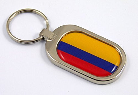 Colombia Flag Key Chain metal chrome plated keychain key fob keyfob Colombian