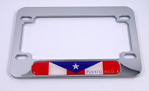 Puerto Rico flag Motorcycle Bike ABS Chrome Plated License Plate frame