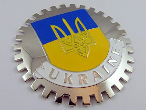 Grille Badge Ukraine car truck mount Ukrainian flag with tryzub Trident chrome