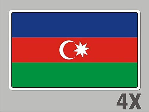 4 Azerbaijan stickers flag decal bumper car bike emblem vinyl FL005
