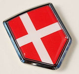 Denmark Flag Danish Car Chrome Emblem 3D Decal Sticker