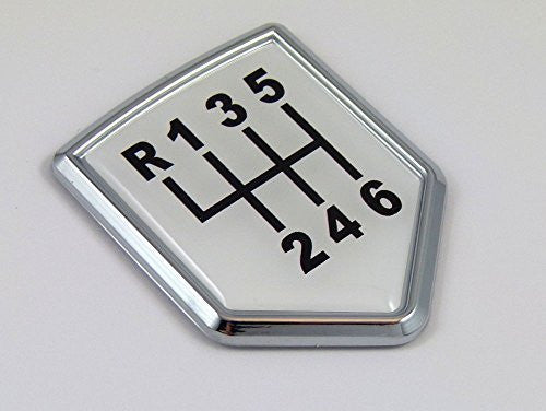 Shift stick Decal 6 speed Car Chrome Emblem Sticker badge