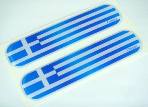 "Greek Greece Flag Domed Decal Emblem Car Flexible Sticker 5"" Set of 2"