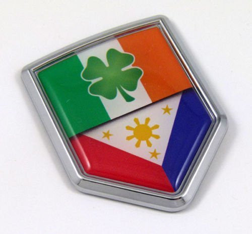 Ireland Philippine Flag Irish Shamrock Philippinian Car Chrome Emblem Decal Auto
