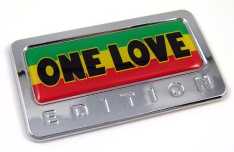 Car Chrome Decals CBEDI-ONEL One Love Bob Marley Edition Chrome Emblem with domed decal Car Auto Bike Badge