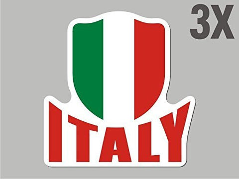 3 Italy Italian shaped stickers flag crest decal car bike emblem CN053