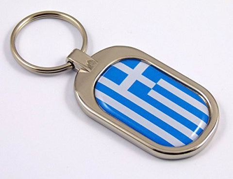 Greece Flag Key Chain metal chrome plated keychain key fob keyfob Greek