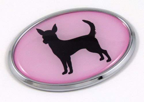 Chihuahua Dog Pink 3D Chrome Emblem Pet Decal Car Auto Bike Truck Sticker
