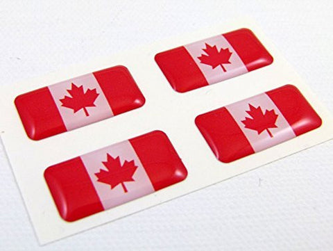 Canada Canadian mini domed Flag decals 4 emblems Car auto bike boat. stickers