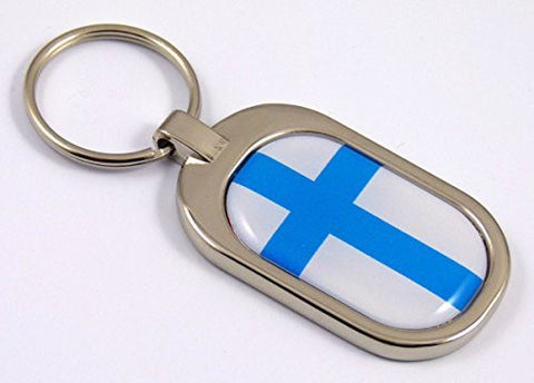 Finland Flag Key Chain metal chrome plated keychain key fob keyfob Finish