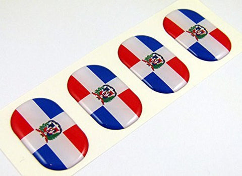 "Dominican Republic midi domed decals flag 4 emblems 1.5"" Car bike stickers"