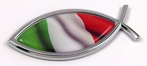 Car Chrome Decals CBFSH101 Italy Jesus Fish Italian Flag Car bike Chrome Emblem Decal Sticker Christian