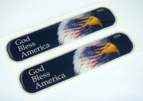 "USA American God Bless Flag Domed Decal Emblem Car Flexible Sticker 5"" Set of 2"
