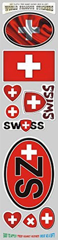 Car Chrome Decals STS-SZ Switzerlan 10 stickers set flag Swiss decal bumper stiker car auto bike laptop